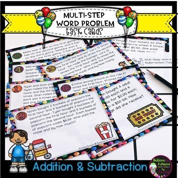 Multi-Step Word Problems (+ and -) Task Cards