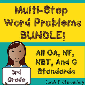 Multi-Step Word Problems-BUNDLE (All 3rd Grade OA, NF, NBT, & G Standards)