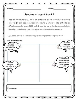 Word Problems in Spanish / Math Test Prep in Spanish