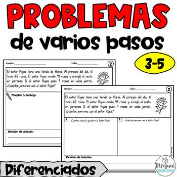 Multi Step Word Problems in Spanish / Problemas de varios pasos
