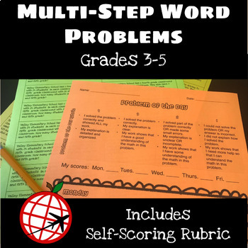 Multi-Step Word Problems with Self-Scoring Rubric