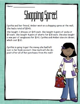 Multi-Step Word/Story Problems for 4th and 5th Grades- 8 story problems Included