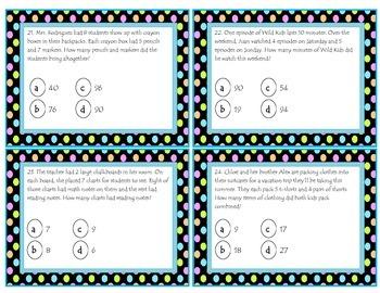 Multi-Step multiplication problem solving task cards