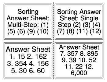 Multi-Step or Single Step Sorting Task Cards (TEKS 2.4C 2.7 2.7C)
