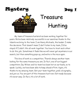 End of the Year Activity: The Mystery of the Pirate's Treasure
