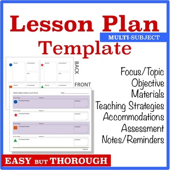 Lesson Planning Template - Multi-Subject (Graphic Organizer)