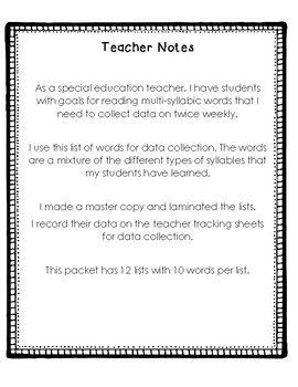 Multi Syllabic Data Packet #2