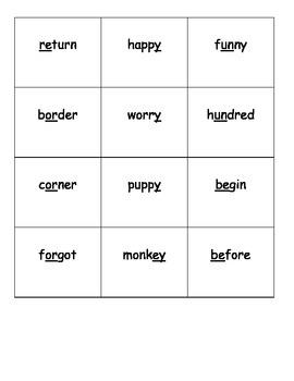 Multi-Syllabic Words - Go Fish Game