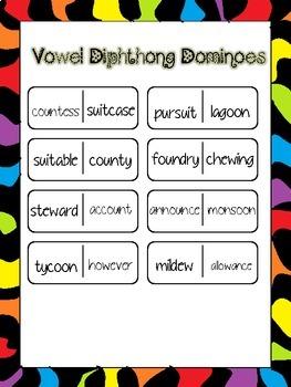 Multi-SyllabicVowel Diphthong Dominoes