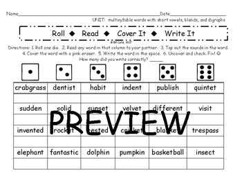 Multi-Syllable Short Vowel Words with Blends and Digraphs
