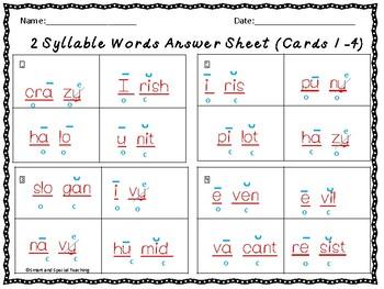 6 Syllable Types Task Cards (The Open Syllable) Orton-Gillingham Dyslexia/RTI