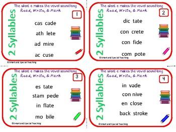 6 Syllable Types Task Cards (The VCE Syllable) Orton-Gillingham Dyslexia/RTI
