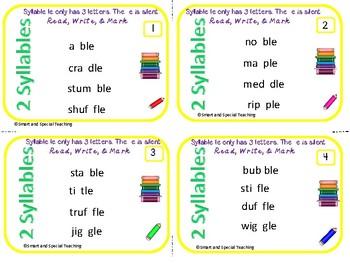6 Syllable Types Task Cards Consonant -le syllable Orton-Gillingham Dyslexia/RTI