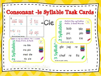 6 Syllable Types Task Cards Consonant -le syllable Orton-Gillingham Dyslexia/RTI