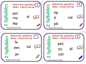 6 syllable Types Task Cards (The schwa syllable) Orton-Gillingham Dyslexia/RTI