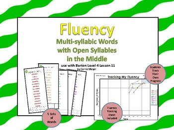 Multi-Syllable Word Fluency:Open Syllables In the Middle:Level 4 Lesson 11