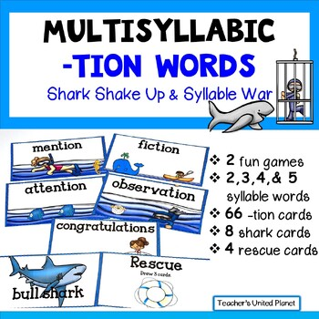 Reading Games -TION words -  Shark Shake-Up and Syllable War