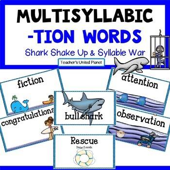 Reading Games -TION words -  Shark Shake-Up and Syllable War