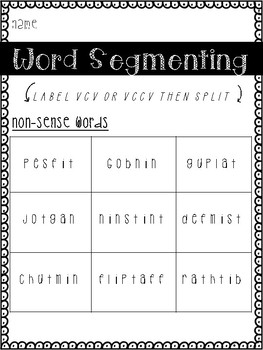 Multi-Syllable Word Segmenting - Real and nonsense