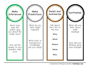 Multi Use Comprehension Strategy Bookmarks
