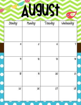 Multi-color Bird Theme Calendar 2015-2016