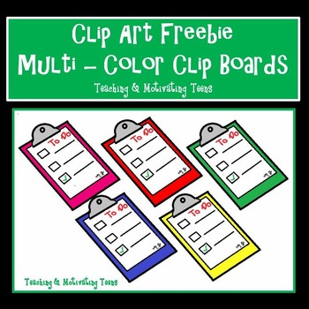 Clip Art Colorful Clipboards 6 colors - Freebie