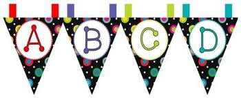 Multi-Colored Polka Dots on Black Themed Pennant Banners