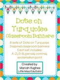 Pennant Banners - Multi-Colored Polka Dots on Turquoise Themed