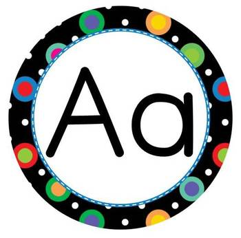 Multi-Colored Polka Dots on Black Themed Word Wall Letters