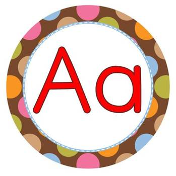 Word Wall Letters - Multi-Colored Polka Dots on Chocolate Theme