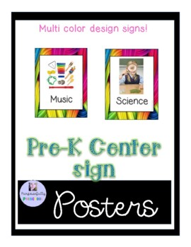 Multi colored learning center signs