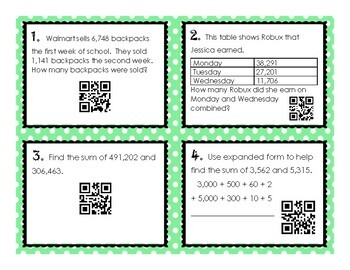 qr code robux Multi Digit Addition Without Regrouping Qr Code Task Cards By Teaching Harmony