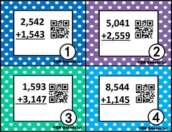 Addition/Subtraction Multi-digit Test Prep Practice w/ QR Codes (and without)