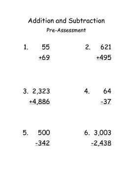 Multi-digit Addition and Subtraction Short-Cycle Assessment