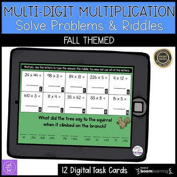 Multi-digit Multiplication Digital Task Cards | Boom Cards | Riddles
