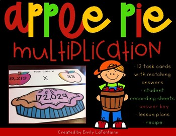 Multi-digit Multiplication Matching Game with Apple Pie