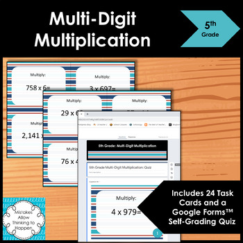 5th Grade Multi Digit Multiplication Math Task Cards Common Core Aligned
