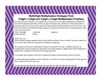 Multi-digit Multiplication Organizers and Step-by-Step Directions