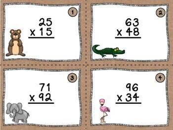 Multi-digit Multiplication Task Cards- FREE!