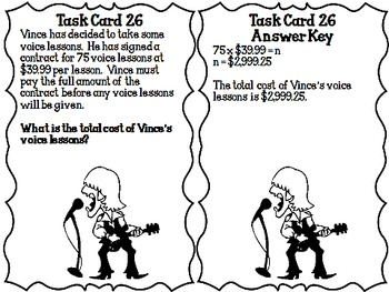 Math:  It's Black and White!  Multi-digit Multiplication Task Cards CCSS 5.NBT.7