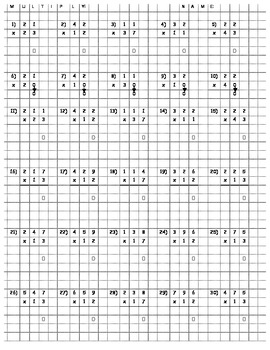 multi digit multiplication on graph paper for neatness tpt. Black Bedroom Furniture Sets. Home Design Ideas