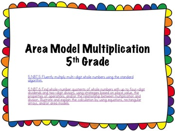 Multi-digit Multiplication  using place value, area models and alogorithm