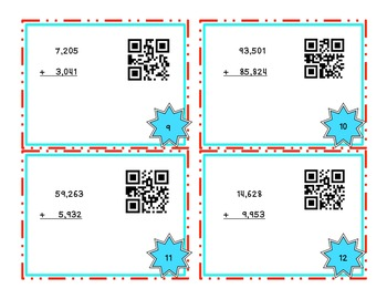 Multi-digit addition and subtraction task cards- QR codes
