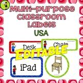 Multi-purpose Classroom Labels/Cards EDITABLE USA