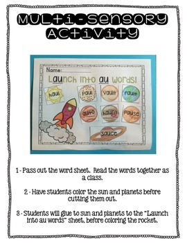 Multi-sensory Activities for Diphthongs - au and aw