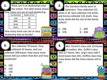 3.4A Multi-step Addition & Subtraction Computation Task Cards STAAR