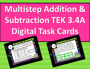3.4A Multi-step Addition & Subtraction Interactive Digital Task Cards