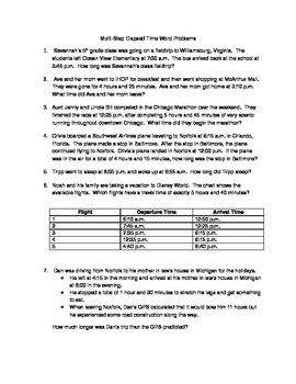 Multi-step Elapsed Time Word Problems