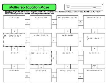 Multi-step Equation Maze