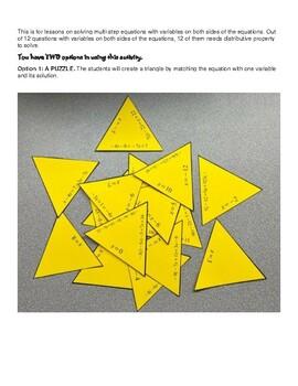 Multi-step Equation Tarsia Puzzle